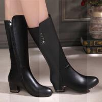 马丁靴女2018冬季新款中跟真皮中高筒靴粗跟女靴子舒适加绒皮靴SN8367
