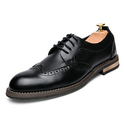 布洛克雕花男鞋秋冬季商务正装皮鞋男男士休闲鞋系带英伦鞋子黑色 黑色
