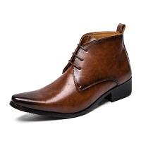 2018新款商务正装男士皮鞋高帮鞋中帮英伦男靴子短靴马丁靴男真皮