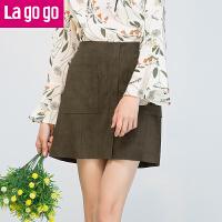 【秒杀价77】Lagogo/拉谷谷2019年秋冬新休闲时尚贴袋开叉纯色半裙