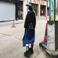 格子半身裙女不规则2018新款中长款韩版A字复古裙子 蓝格子