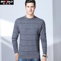 伯克龙男士纯羊毛衫 秋冬季新款100%羊毛针织衫男装韩版青中老年套头圆领毛衣 Z8022