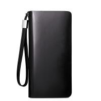 商务男士钱包长款拉链多功能手包卡包手机包男式 平纹黑色(卡位)