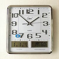 钟表客厅挂钟静音万年历时钟欧式简约现代日历石英钟表 16英寸