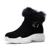 2018冬季新款韩版短筒雪地靴保暖棉靴真皮百搭兔毛加绒毛毛靴女潮