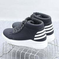 冬季鞋子女2018新款韩版百搭二棉加绒保暖学生高帮休闲板鞋帆布鞋