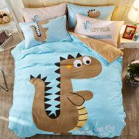 冬季珊瑚绒保暖四件套法兰绒全棉纯棉儿童被套床单三件套床上用品