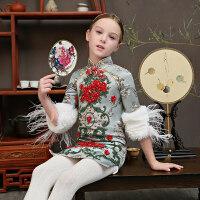 儿童礼服中式走秀新款冬女童旗袍古筝演出服中国风小主持人晚礼服 天蓝色