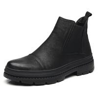 冬季中帮加棉休闲皮鞋男加绒韩版马丁靴真皮英伦高帮鞋男防滑保暖