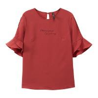 【1件2.5折叠券约:15.2,6月5日仅此一天】美特斯邦威女短袖印花雪纺衬衫休闲舒适潮流短袖衬衫