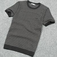 201春季男士青年短袖毛衣韩版修身套头毛线衣潮男条纹半袖针织衫