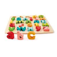 Hape四阶―字母启蒙立体拼图3-6岁小写字母积木拼插儿童早教益智启蒙玩具拼图拼板E1552