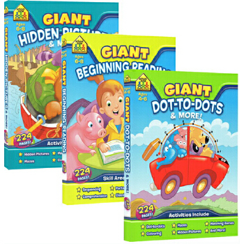 (198减40)【4-8岁趣味练习3册】School Zone Giant Reading/Hidden Pictures/Dot-to-Dot 家庭趣味活动练习册 英文原版