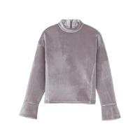 【2件2.5折到手价:56.5】美特斯邦威卫衣女士冬装新款针织丝绒舒适保暖长袖套头衫