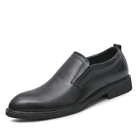 男士休闲皮鞋男英伦尖头韩版鞋子潮流百搭商务套脚发型师青年男鞋 黑色 内增高18002