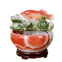 【优选】景德镇陶瓷鱼缸水族箱客厅小型金鱼缸流水喷泉加湿器客厅家用鱼缸 年年有余款