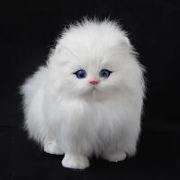 ?仿真动物模型小猫咪儿童动物毛绒玩具会叫的猫玩偶仿真猫咪公仔