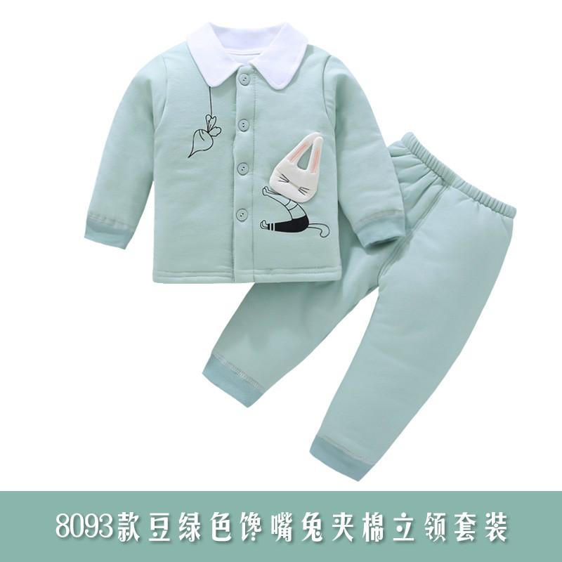 婴儿秋冬套装男女宝宝0-1岁棉袄新生儿保暖加厚套装儿童冬 豆绿色 8093豆绿色 发货周期:一般在付款后2-90天左右发货,具体发货时间请以与客服协商的时间为准