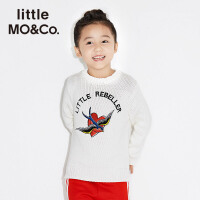 littlemoco粗线针织刺绣燕子爱心字母套头长袖毛衣KA171SWT308 moco