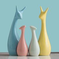 家居饰品陶瓷摆件三口之家鹿客厅电视柜工艺品装饰品摆设结婚礼物