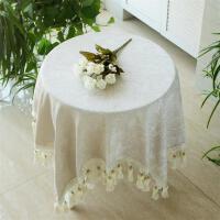0719091840263雪尼尔小圆桌布餐桌布艺米白纯色台布茶几布中式欧式