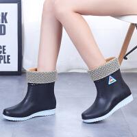 雨鞋女冬季中筒雨靴时尚女士加绒短筒防水鞋防滑水靴保暖胶鞋