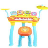 ?宝丽儿童电子琴女孩小钢琴玩具初学可插电带麦克风宝宝1-3岁礼物? 1601 橙色 【琴鼓组合】