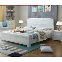 现代简约实木床单双人1.5/1.8米白色主卧中式婚床高箱储物橡木床 1800mm*2000mm 气压结构