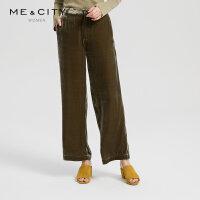 【5.15日抢购价:135】MECITY女装简约复古chic梭织丝绒阔腿裤