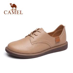 骆驼2018秋季新款英伦小皮鞋女低跟女鞋复古系带鞋子单鞋女平底