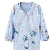 【全场2件2.5折,到手价:25】美特斯邦威短袖衬衫女沙滩上衣泡泡袖学生潮夏装新款商场款