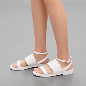 依思q秋夏新款凉鞋女罗马鞋露趾纯色搭扣平低跟女鞋