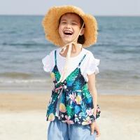 【5.16-5.17日抢购价:25】moomoo童装女童短袖t恤新款假两件圆领植物宝宝儿童装女童夏
