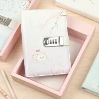 樱花树下的猪 皮面锁扣本 创意唯美日本风密码锁本盒装带锁日记本笔记本子A5
