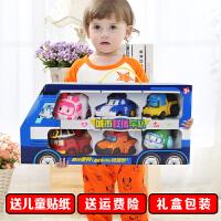 珀利警长救援车套装波利机器人变形警车poli儿童玩具车消防车玩具