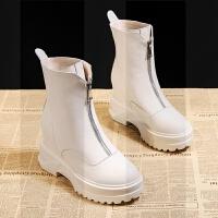 网红短靴女秋季2018新款潮短筒内增高冬季加绒棉鞋雪地瘦瘦马丁靴SN7372