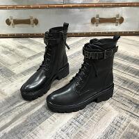 欧洲风格站2017秋冬新款女鞋牛皮系带厚底中筒马丁靴中跟粗跟女靴