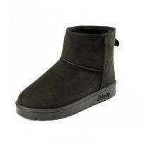 雪地靴女秋冬面包鞋短筒情侣款加绒加厚防滑中筒靴棉鞋潮