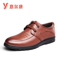 意尔康男鞋商务正装休闲牛皮革时尚系带鞋子英伦男士休闲鞋皮鞋平底鞋