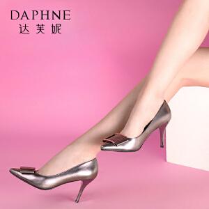 Daphne/达芙妮 蝴蝶结气质PU方扣细高跟女鞋浅口女单鞋