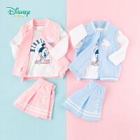 迪士尼Disney童装 女童套装运动风马甲米妮印花长袖T恤甜美短裙三件套春季新品衣服