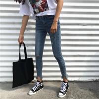 破洞牛仔裤女春秋新款韩版显瘦学生百搭高腰九分裤小脚长裤子