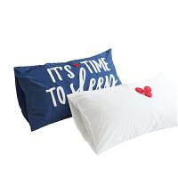 60支贡缎单人毛巾绣枕套纯色枕芯套48 74cm枕头套一对拍2 48cmX74cm