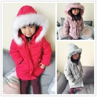 真毛领90绒羽绒服 砖柜品质中长款宝宝羽绒服棉袄 女童加厚大衣