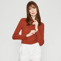 【1件4折到手价:227.6】羊毛打底衫MECITY女新款修身网红长袖套头打底衫毛衣