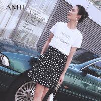 【折后价:169元/再叠300-30元券】Amii极简复古宽松波点控撞色半身裙2019春新风琴褶高腰A字短裙