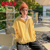 韩都衣舍2020韩版女装春装新款宽松格子拼接BF风短外套DU9431樱