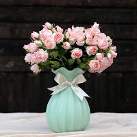 欧式陶瓷摆件 花瓶仿真玫瑰花套装 客厅树脂工艺品桌面摆件