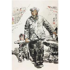 刘文西《拉磨》著名画家