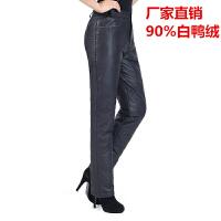 中老年羽绒裤女外穿高腰加厚冬季大码直筒修身显瘦裤子妈妈装棉裤